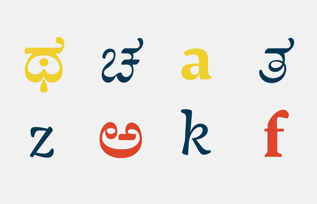 Журнал Шрифт • Джерри Леонидас про учёбу в Рединге Проект объединяет латиницу и шрифт на основе южно индийской письменности ка́ннада для которой характерны округлые формы и множественные лигатуры из гласных